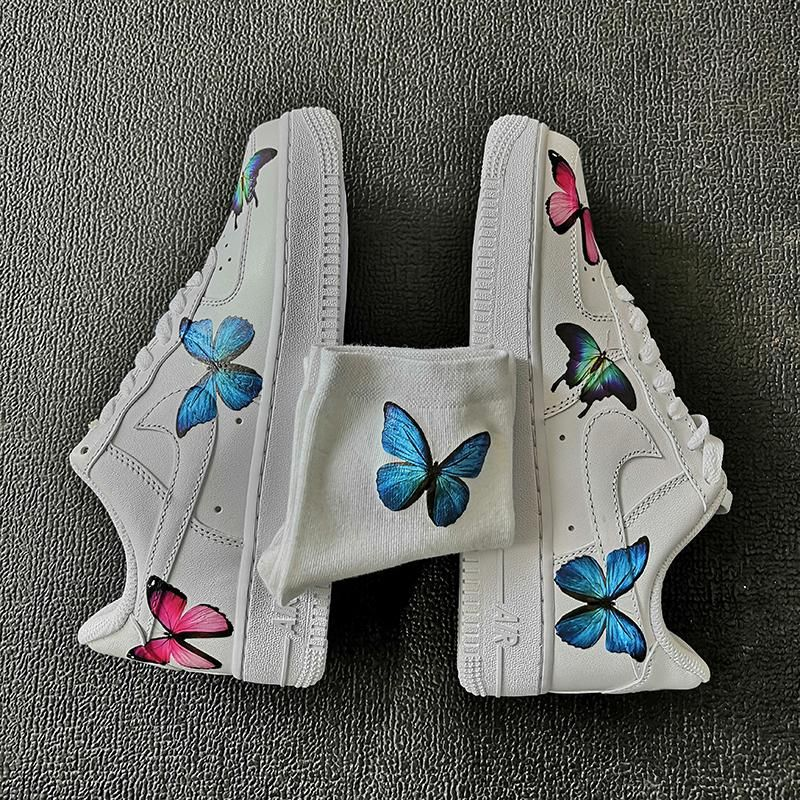 Custom Air Force 1 with 3 Different Butterflies in 2020