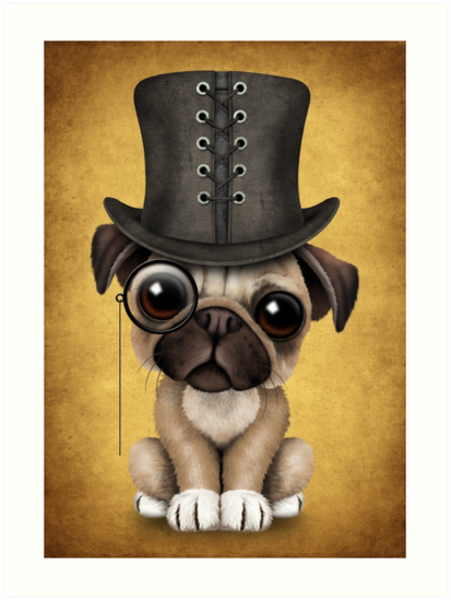 479f56b1bb0 This cute design by artist Jeff Bartels features a small pug puppy dog with  pure black eyes. A large top hat along with a monocle gives the dog a  fancy