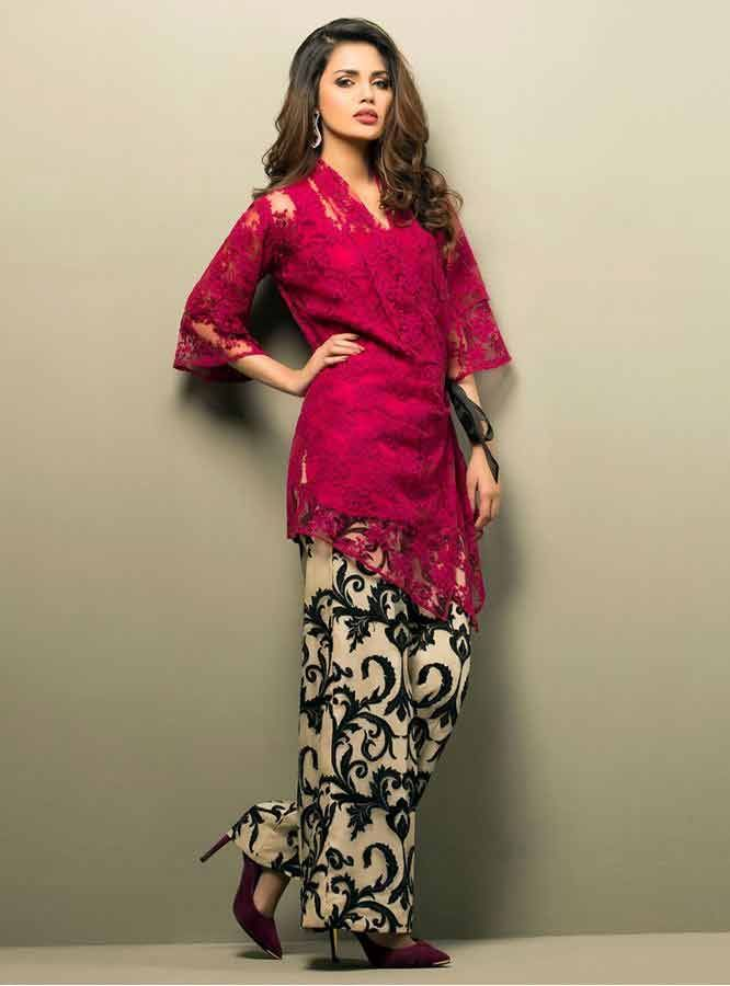 a9a5851d9a8 new shocking pink cherry net lace front open gown with printed trouser  girls net dresses 2017 pakistani party dresses with price