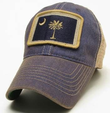 ce938ae9 South Carolina Palmetto Tree Square Patch Legacy Old Favorite Trucker Hat -  Blue