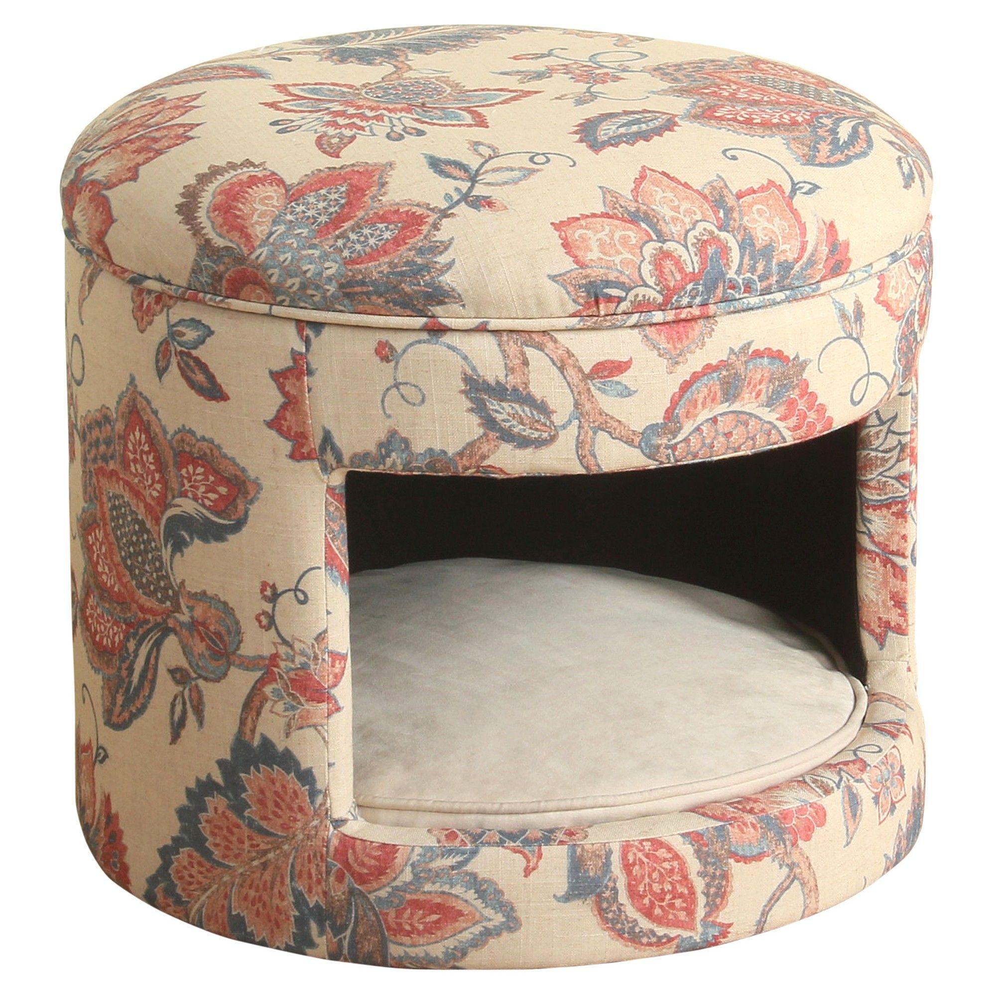 Homepop Decorative Round Hideaway Ottoman Dog Bed