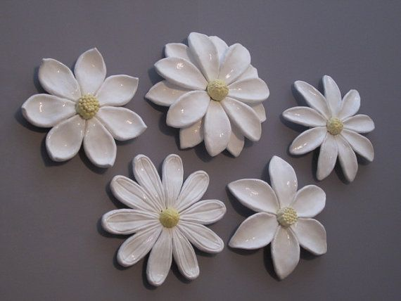 Flower wall hanging ceramic wildflower camelia and for Clay mural making