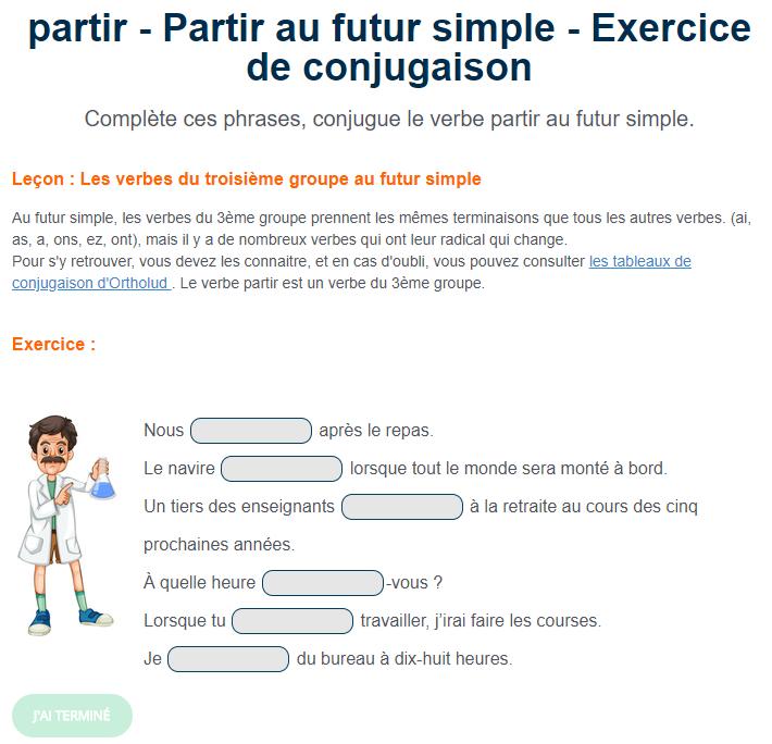 Partir Au Futur Simple Exercice De Conjugaison En Ligne Ou A Imprimer Futur Simple Exercices Conjugaison Conjugaison