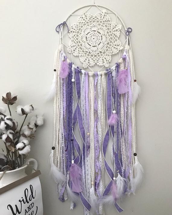 Large Purple Dream Catcher for Boho Bedroom or Nursery #purpledormrooms