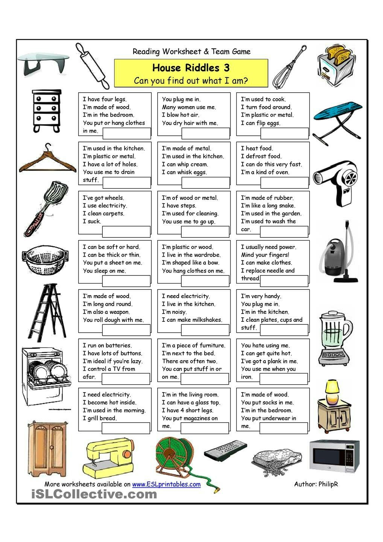 House Riddles Jokes Fans Iron Ironingboard Bowl Spatula Dresser Hanger Vacuum Blender Appliances Riddles English Lessons English Language Learning