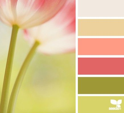 Tulips- green, green, peach, gold, cream Perfect color palate for living room