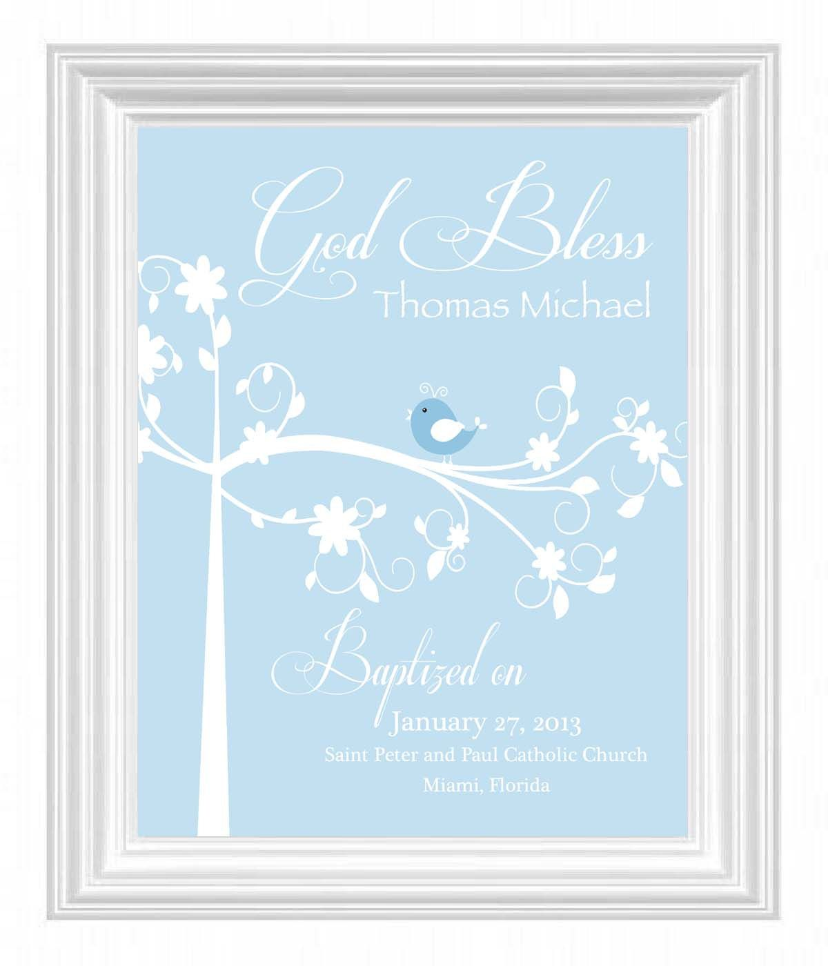 Christening gift baptism gift baby boy personalized print bird christening gift baptism gift baby boy personalized print bird name wall art for nursery other colors available 1500 via etsy negle Image collections
