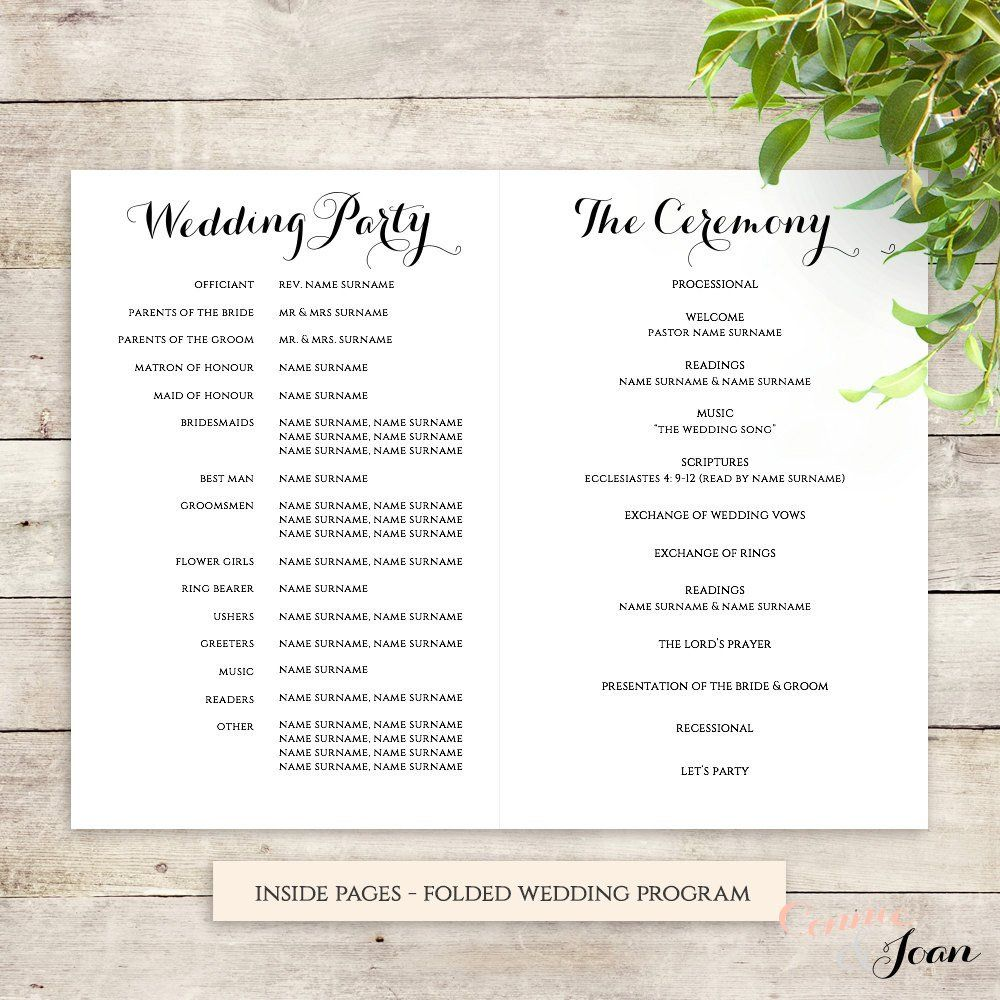 byron printable wedding order of service template wedding decor