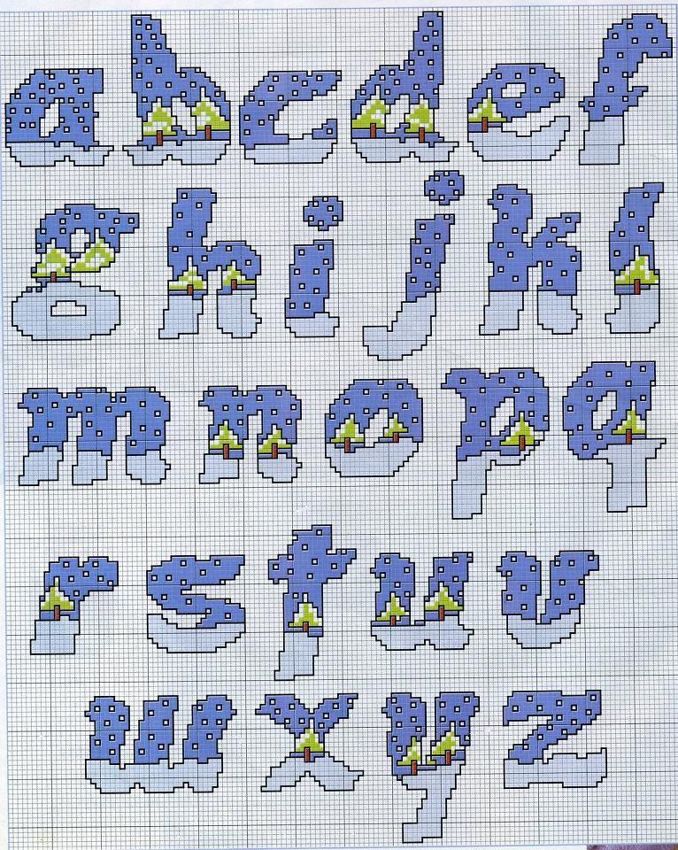 Schema punto croce alfabeto paesaggio nevoso crosstitch for Lettere a punto croce schemi