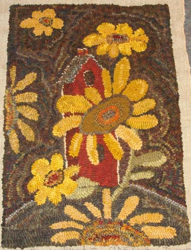 Sunflower Birdhouse Prim Rug Hooking Paper Pattern