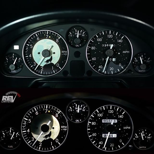 "topmiata: ""@corifto's wolf moon gauges by @revlimiter #revlimitergauges #revlimiter 