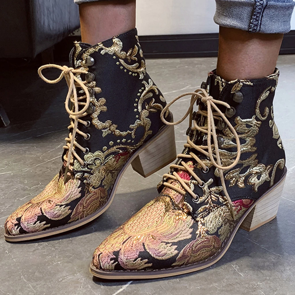 Mid-Calf Boots for Womens Butterf Embroidery Cowboy Boots Fashion Casual Square Heels Long Ankle Boots Winter Shoes