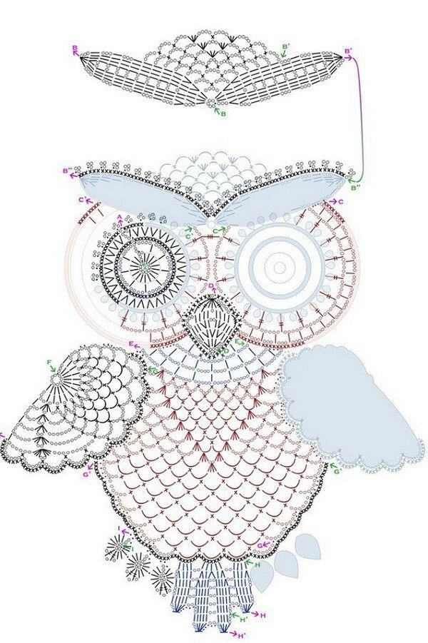 Sowa-schemat. | Crochet | Pinterest | Tejido, Ganchillo y Puntadas
