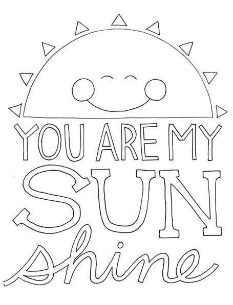 You Are My Sunshine Love Coloring Pages, Free Coloring, My Sunshine