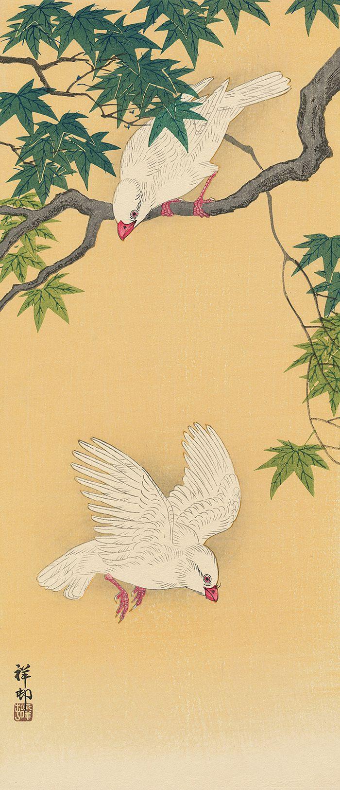 Green Birds Maple Tree Asian Japanese Ohara Shoson Counted Cross Stitch Pattern