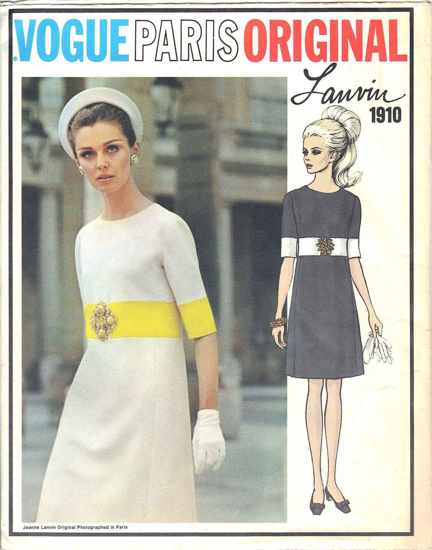Vintage Lanvin Vogue Paris Original Uncut Sewing Dress Pattern, Size ...