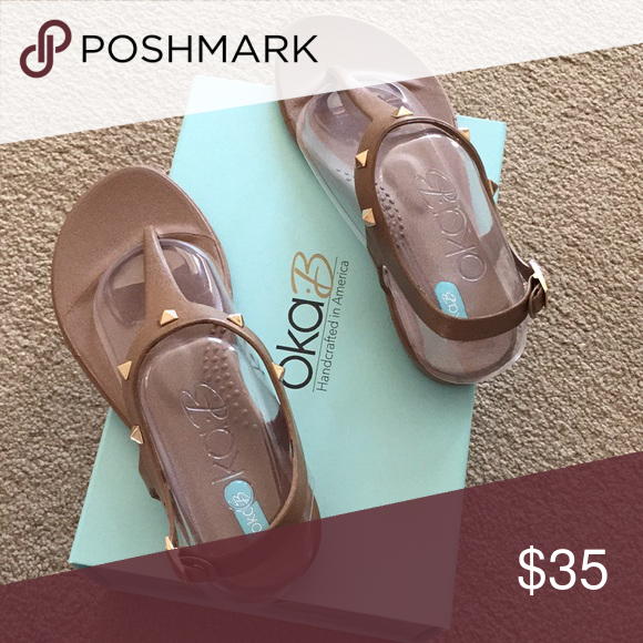 333b63a13c0a3f Oka-B taupe gold studded sandals Oka-B taupe sandals with gold  embellishments - never worn size 8 OKA b. Shoes Sandals