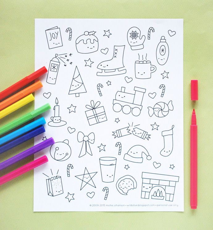 Kawaii Christmas Coloring Page // wild olive | Planner/Bullet ...