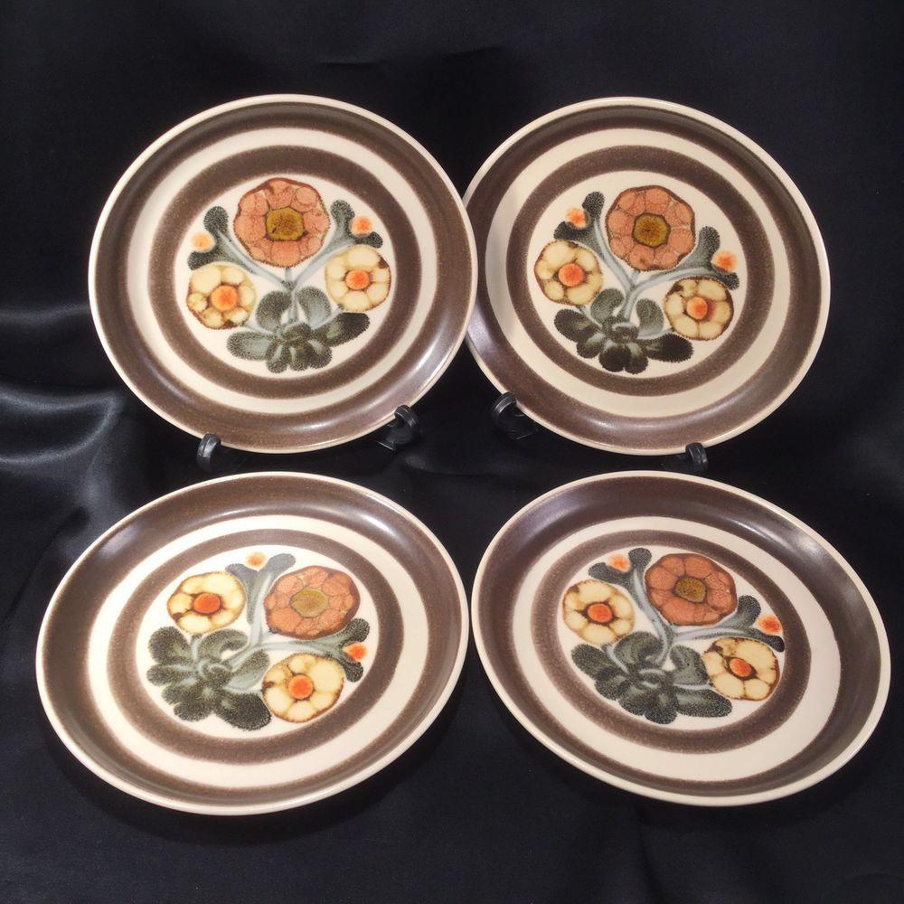 4 Denby Langley Mayflower Bread Butter Plates 6 5/8\  Old Windmill Mark # Denby & 4 Denby Langley Mayflower Bread Butter Plates 6 5/8\