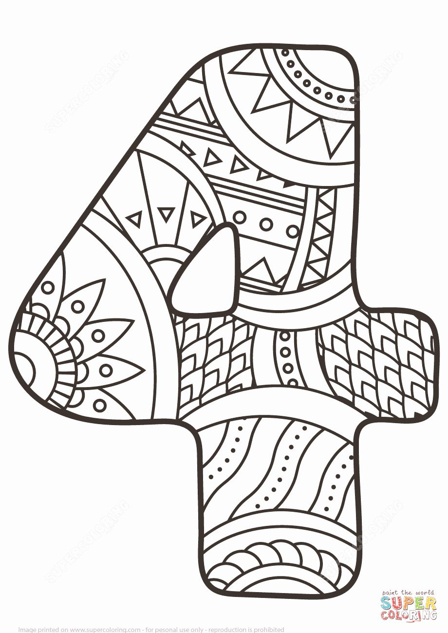 32 Number 4 Coloring Page In 2020 Coloring Pages Coloring Pages