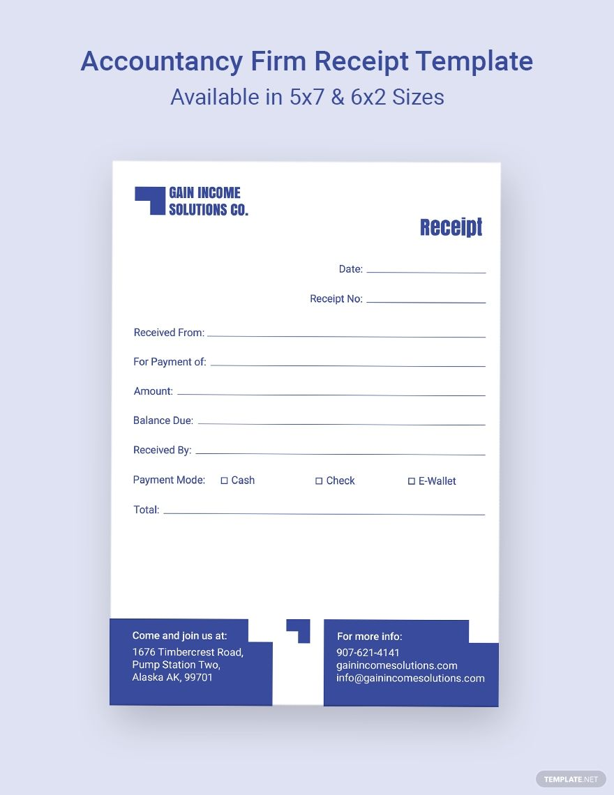 Accountancy Firm Receipt Template Word Doc Psd Indesign Apple Mac Pages Illustrator Publisher Receipt Template Templates Document Templates