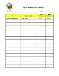 Supplies Sign Out Sheet  Sign Out Sheets