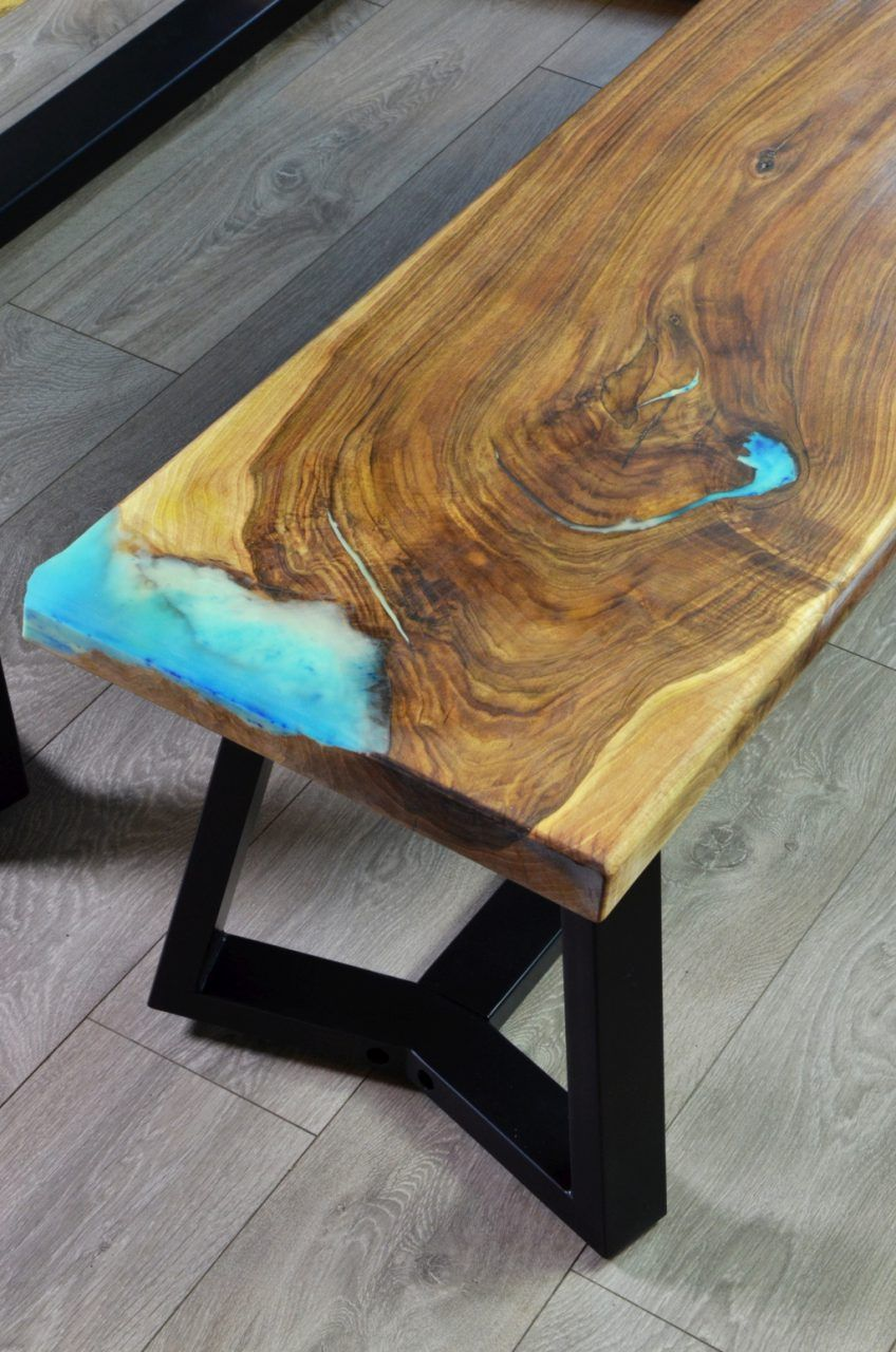 Live edge river dining table with bench – Fine Wooden Creations ...