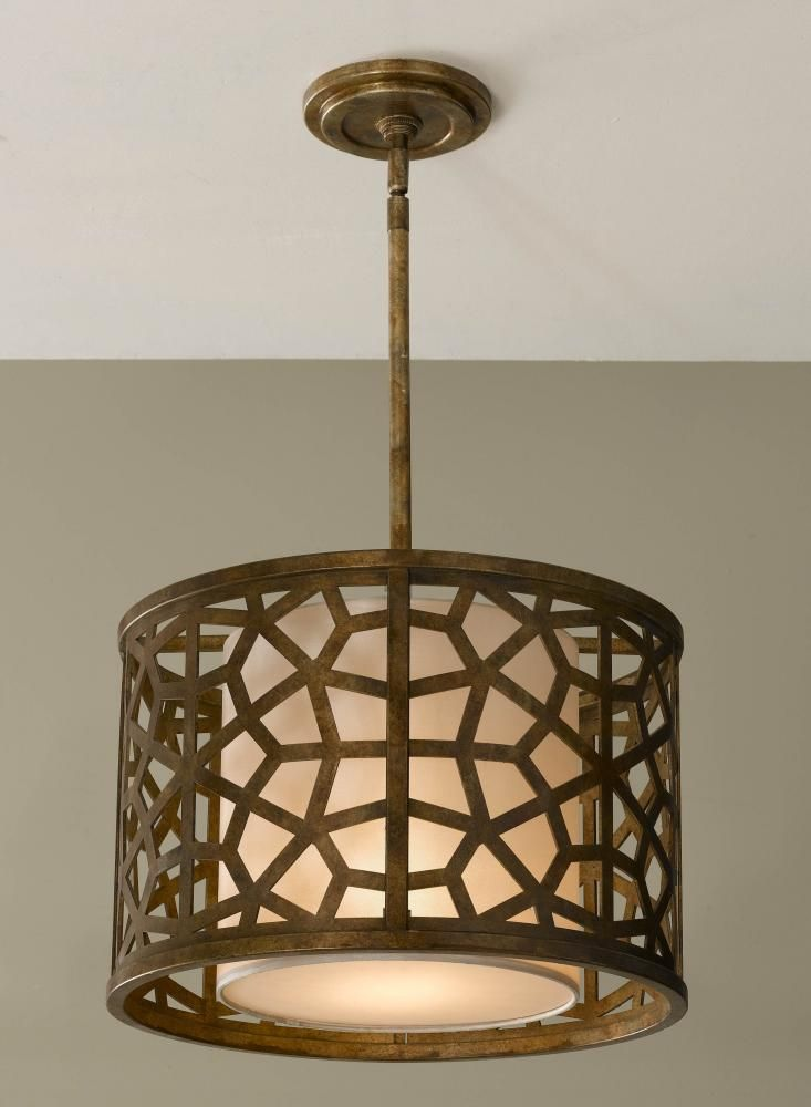 One Light Oxidized Bronze Oraganza Fabric Shade Drum Pendant Chxc Annapolis Lighting