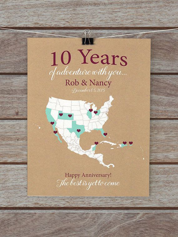 10 Year Anniversary Gifts 10th Personalized Map Of Travels For Him
