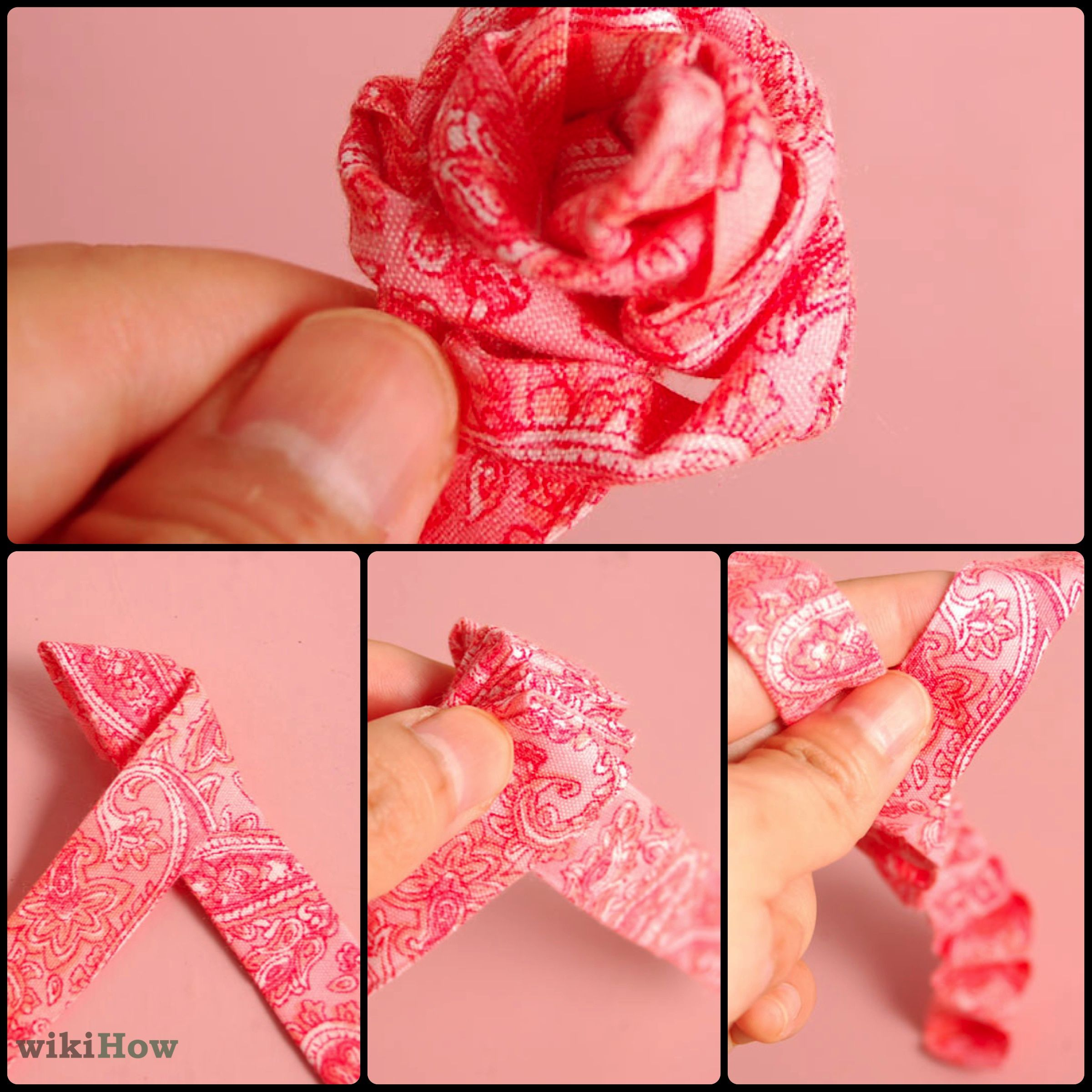 DIY Ribbon Rose, Tutorial, How to make | Tutorial de flor de fita ... | 2401x2401