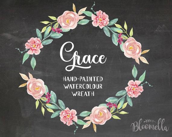 Aquarell Blumenkranz Clipart – Grace handgemalt INSTANT Download PNG & JPEG rosa Frühling Sommer Blätter Blumen Digital hübsche Girlande   – Products