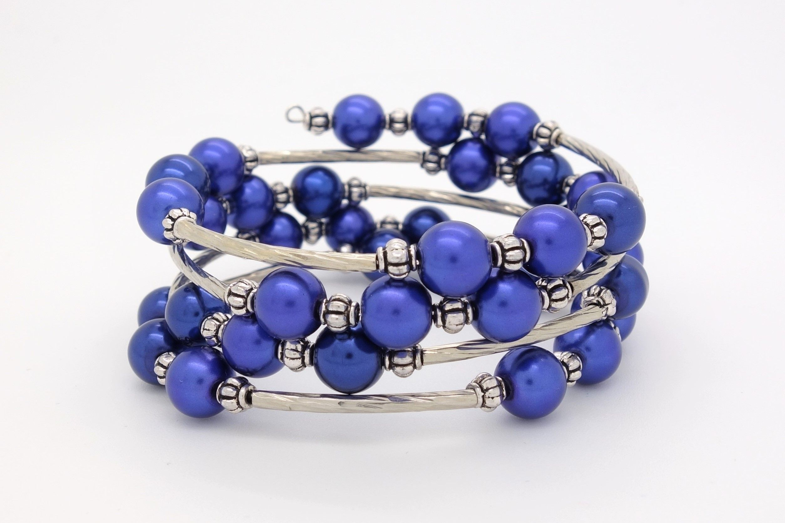 Royal Blue Bracelet Beaded Pearl Wrap Silver Memory Wire Beads