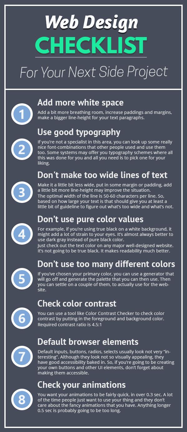 A Web Design Checklist To Make Your Side Projects Look Awesome Web Design Design Checklist