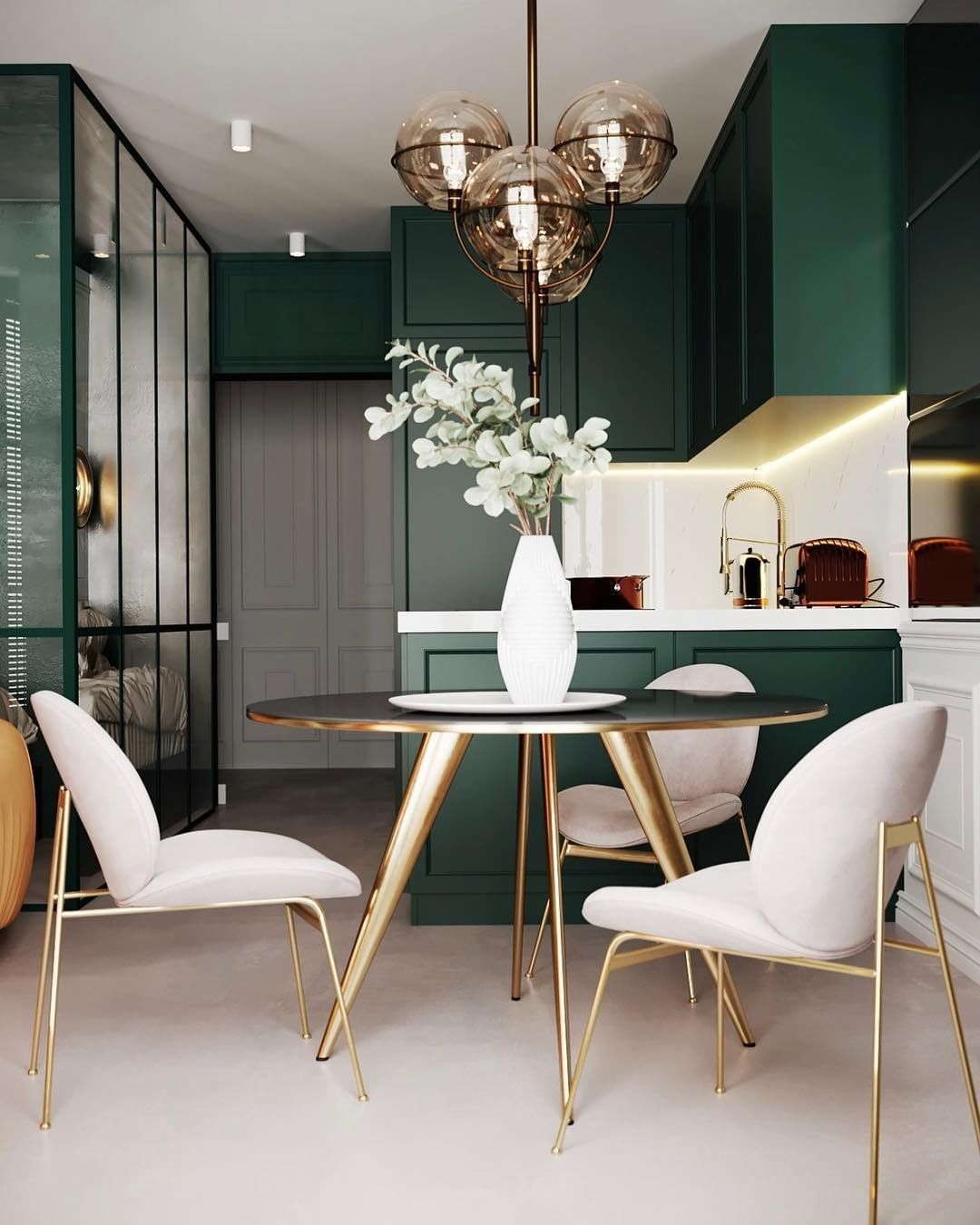 Interior123 On Instagram Dark Green Is A Color Of The Moment And This Kitchen And Dining Area Shows House Interior Trendy Living Rooms Luxury Homes Interior #small #kitchen #and #living #room #designs #combine