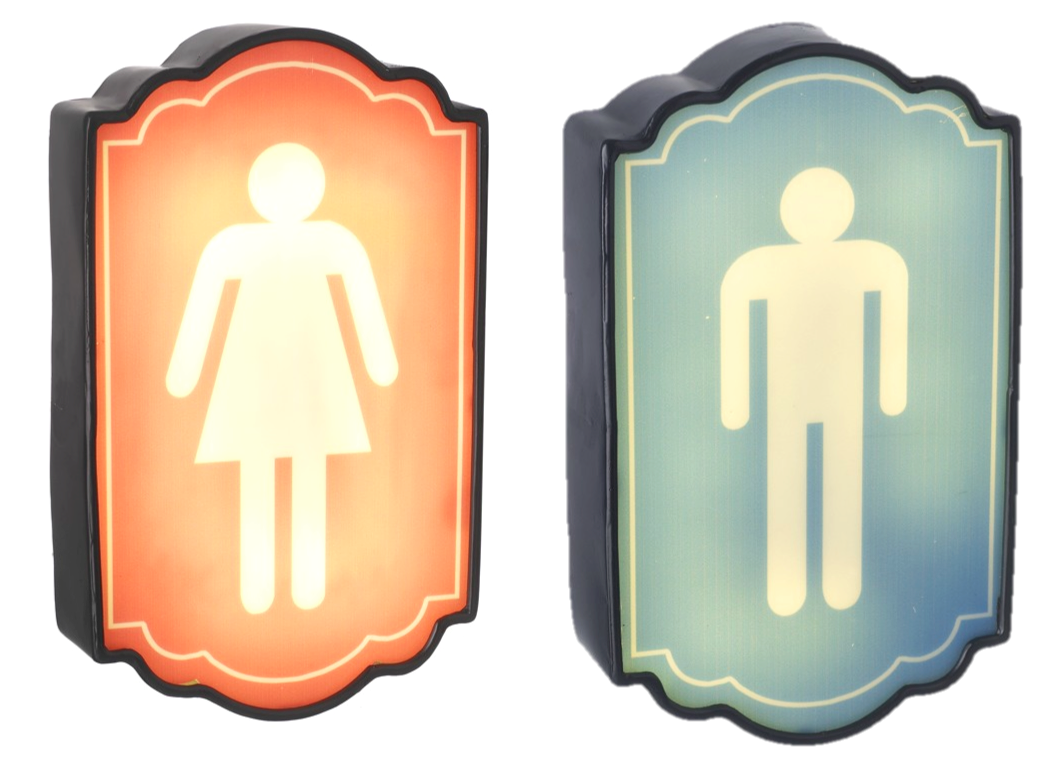 Vintage #Bathroom #Gentleman #WC #sign #LED Door Sign #Illuminated ...