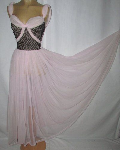 WON IT!!   Vtg 50s Schiesser Blk Illusion Lace Smocked Pink Princess Sweep Nightgown M. #33