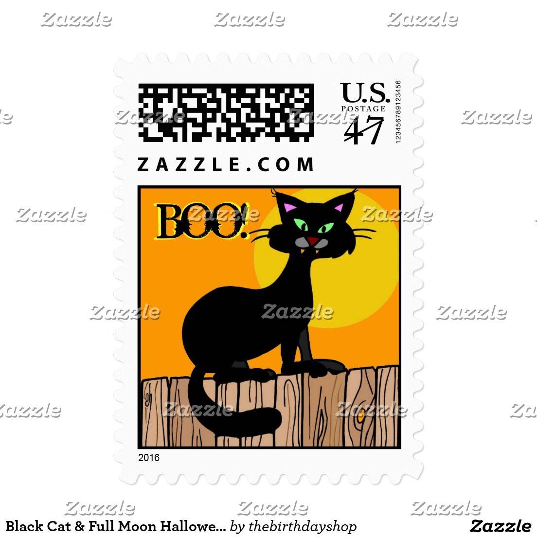 Black Cat & Full Moon Halloween Party Boo Stamps   HALLOWEEN ...