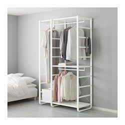 IKEA - ELVARLI, 3 sekcie, Otvorený úložný priestor môžete vždy prispôsobiť alebo doplniť podľa svojich potrieb. Možno sa vám naša kombinácia perfektne hodí, alebo si jednoducho vytvoríte vlastnú.Nastaviteľné police a vešiakové tyče vám umožujú prispôsobiť priestor vašim potrebám.