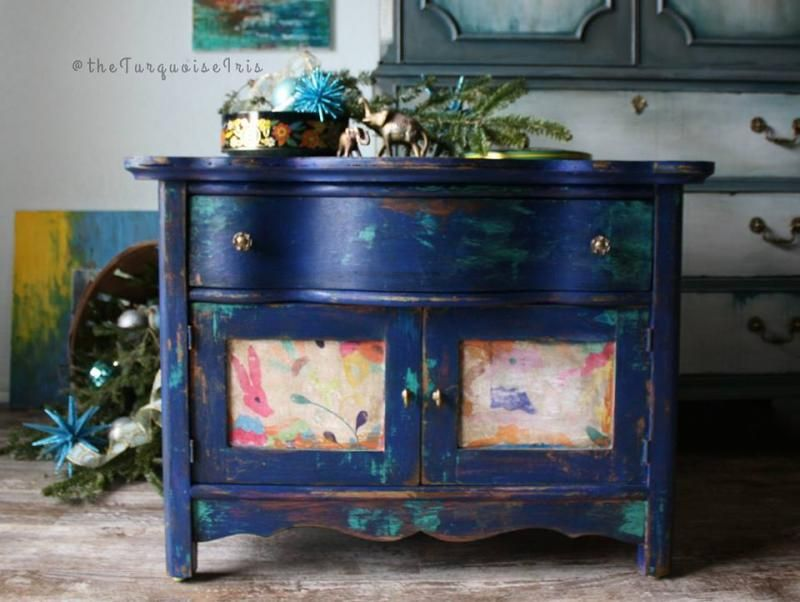 Blue Layered Antique Cabinet With Images Blue Distressed