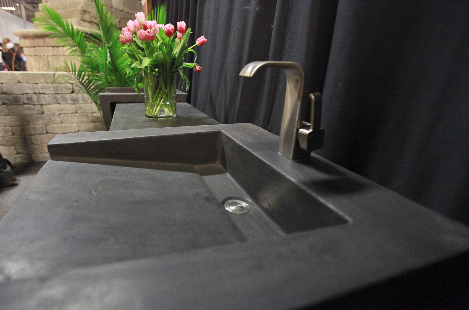 Merveilleux Concrete Pedestal Sink. Black On Black With Penetrating Sealer