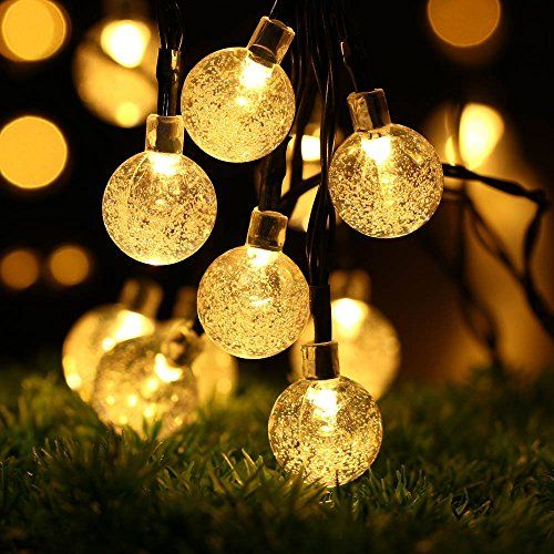 Solar Outdoor String Lights, easyDecor Ball 30 LED 8 Modes 21ft Warm