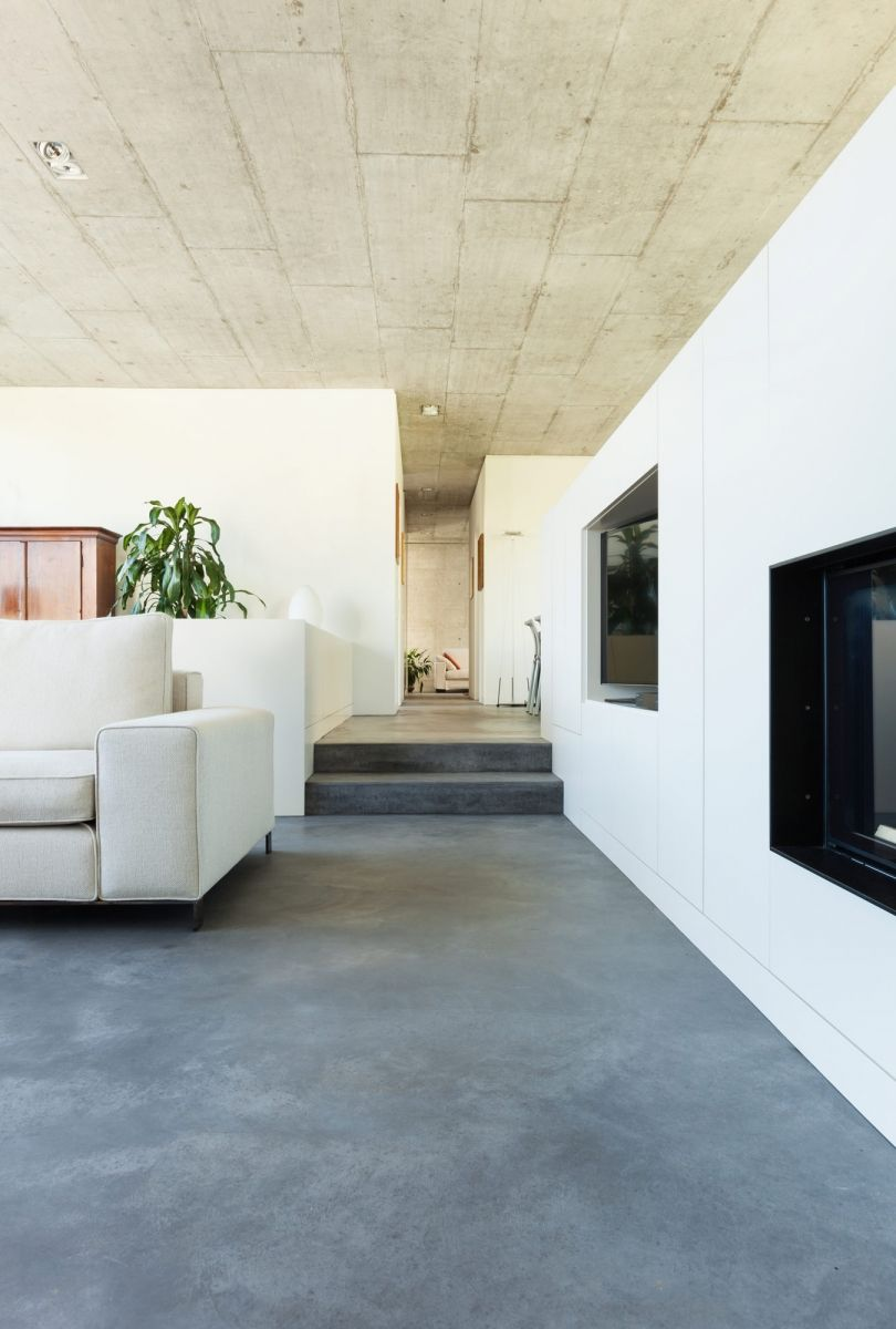 Woonkamer met betonvloer  modern interieur  Ideen voor