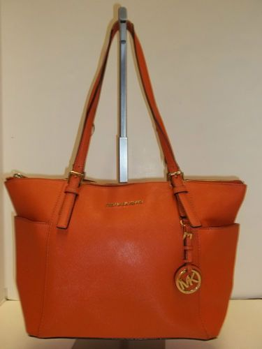 edba319fae1d MICHAEL KORS Tangerine Saffiano Leather E W Zip Top Jet Set Tote Handbag