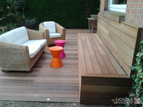 Terrasse bois en ipé avec assise coordonnée Fixation à clips topclip - cout d une terrasse en bois