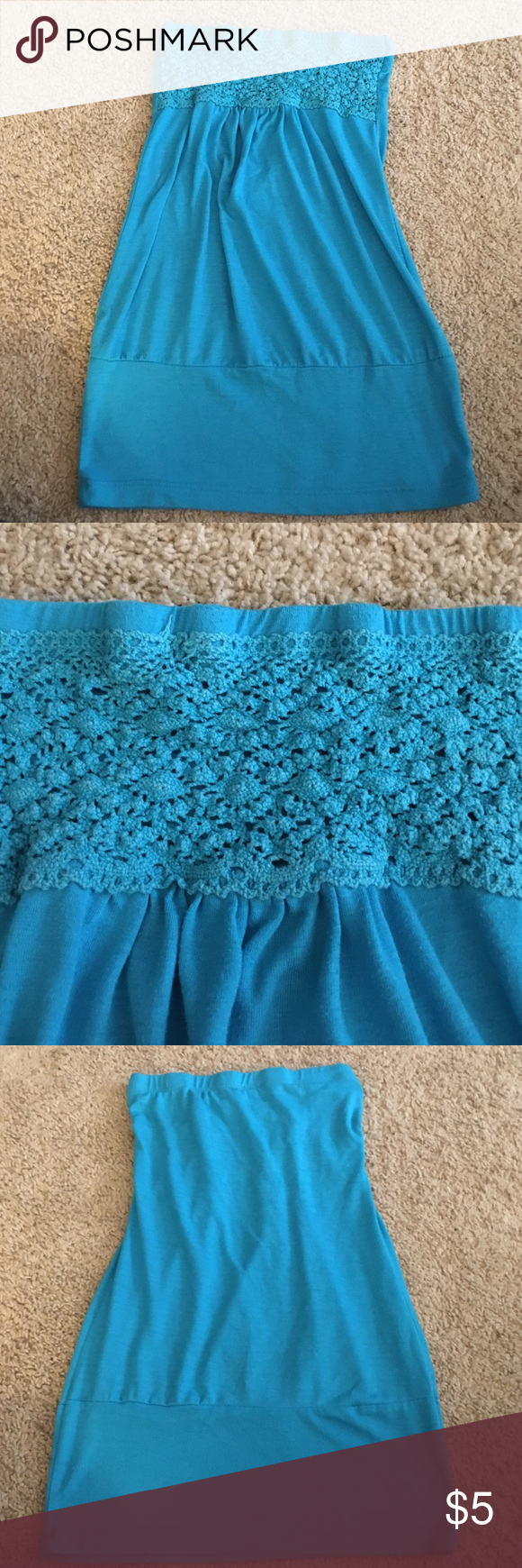 ❗️$3 sale- must be bundled❗️Strapless Tank ❗️$3 sale for the month of July. MUST be bundled with at least 1 other item❗️Strapless baby blue tank. Fitted in the breast & bottom areas, loose throughout the rest. Cute tank on a summer day! Worn, but still in great condition! No tears/marks. Tag is faded so I don't know the brand or size, but am assuming it is a size small because it fits like that. Tops Tank Tops