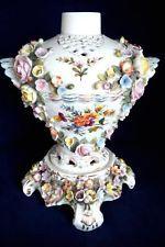 ANTIQUE SITZENDORF PORCELAIN DRESDEN FLOWER ENCRUSTED FIGURAL VASE 1900s