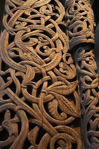 Medieval Wood Carvings in Acanthus pattern, Stave Church Portal, Norway by jan