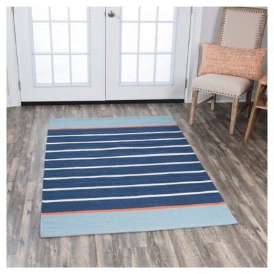 Navy Blue Stripe Loomed Area Rug - (4'X6') - Rizzy Home
