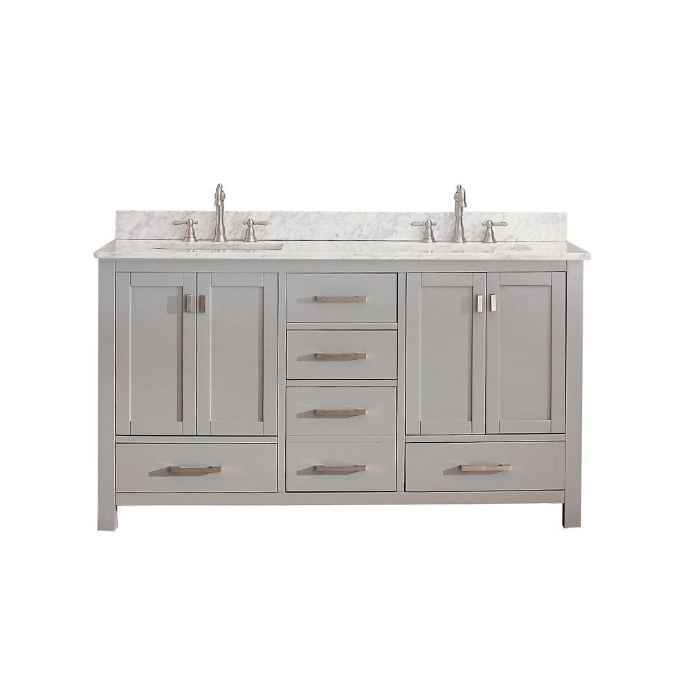 Modero 60 In. Vanity In Chilled Gray With Marble Vanity Top In