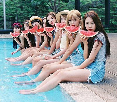 Oh My Girl - just about to start their synchronised swimming with watermelon routine (it will be an event in the 2020 Tokyo Olympics) .. oh! my, the girls they forgot their nose clips.